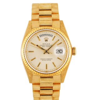 ROLEX | DAY-DATE, REF 18038 YELLOW GOLD WRISTWATCH WITH DAY, DATE