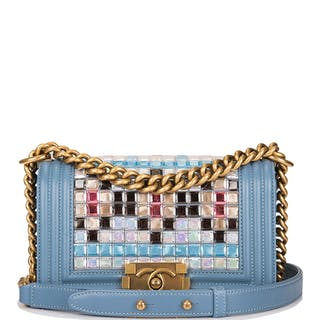 Chanel Blue Metiérs d'Art Mosaic Embroidered Small Boy Bag of Lambskin