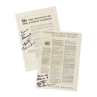 [APOLLO 9]. FLOWN ON APOLLO 9. TWO COMMEMORATIVE UNITED NATIONS DOCUMENTS