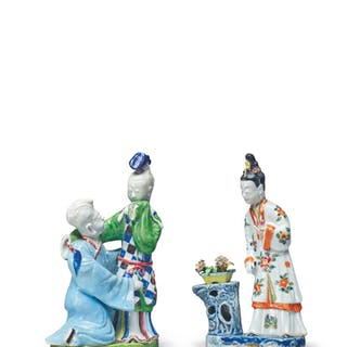 TWO CHINESE FAMILLE-ROSE FIGURAL GROUPS, QING DYNASTY, QIANLONG PERIOD