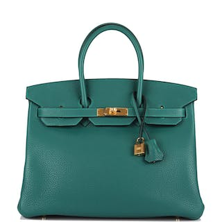 Hermès Malachite Birkin 35cm of Togo Leather with Gold Hardware