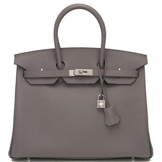 Hermès Horseshoe Stamped (HSS) Bi-color Etain and  Bleu Nuit Birkin