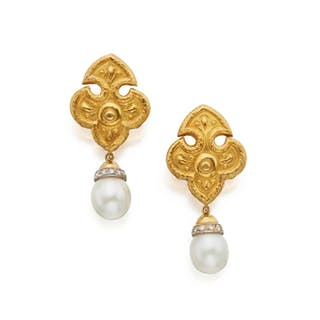 PAIR OF GOLD, CULTURED PEARL AND DIAMOND PENDANT-EARCLIPS, VAN CLEEF & ARPELS