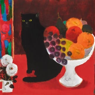 MARY FEDDEN, R.A. | STILL LIFE WITH CAT