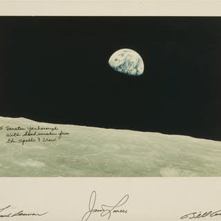 [APOLLO 8]. EARTHRISE. SIGNED BY THE CREW AND INSCRIBED TO SENATOR