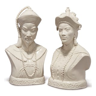 A PAIR OF GLAZED CERAMIC BUSTS OF CHINESE FIGURES