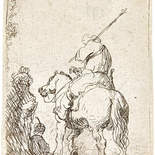 REMBRANDT HARMENSZ. VAN RIJN | TURBANED SOLDIER ON HORSEBACK (B.