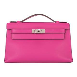 Hermès Rose Pourpre Mini Kelly Pochette of Swift Leather with Palladium