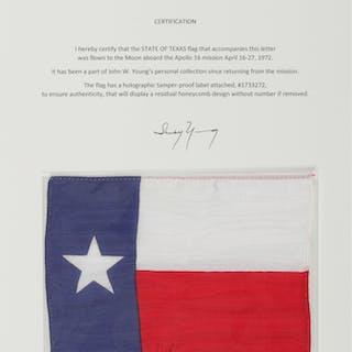 [APOLLO 16]. FLOWN ON APOLLO 16. TEXAS STATE FLAG FROM THE COLLECTION