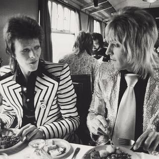 MICK ROCK | DAVID BOWIE AND MICK RONSON, LUNCH ON TRAIN TO ABERDEEN