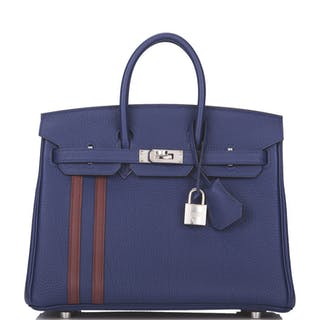 Hermès Bleu Encre and Bordeaux Officier Birkin 25cm of Togo Leather