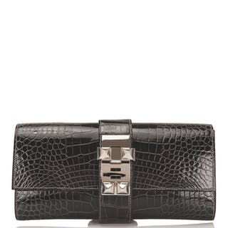 Hermès Medor 23cm of Graphite Shiny Mississippiensis Alligator with