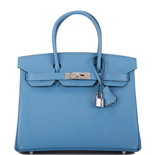 Hermès Bleu Azur Birkin 30cm of Epsom Leather with Palladium Hardware