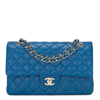 Chanel Blue Quilted Medium Classic Double Flap Bag of Lambskin Leather