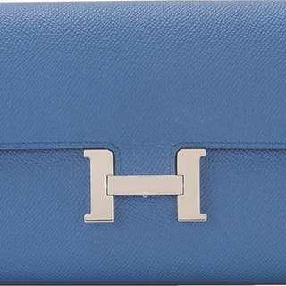Hermès Verso Constance Long Wallet of Bleu Agate Epsom Leather with