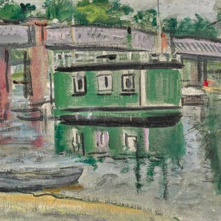 GEORGE LESLIE HUNTER | GREEN HOUSEBOAT, BALLOCH
