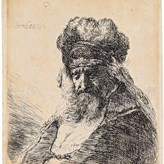REMBRANDT HARMENSZ. VAN RIJN | BEARDED OLD MAN IN A HIGH FUR CAP