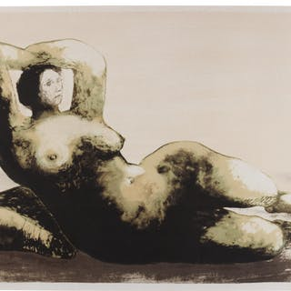 HENRY MOORE | RECLINING WOMAN ON SEA SHORE (C. 596)