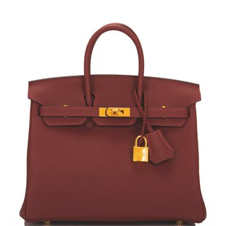 Hermès Rouge H Birkin 25cm of Togo Leather with Gold Hardware