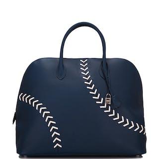 Hermès Baseball Bolide 45cm in Bleu de Malte Evercolor Leather with