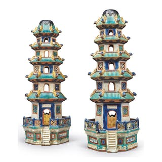 A PAIR OF CHINESE-STYLE GLAZED-EARTHENWARE MODELS OF PAGODAS, 20TH CENTURY