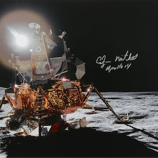 [APOLLO 14]. THE LUNAR MODULE AT FRA MAURO. COLOR PHOTOGRAPH, SIGNED
