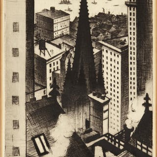 CHRISTOPHER RICHARD WYNNE NEVINSON, A.R.A. | THE TEMPLES OF NEW YORK (BLACK 55)