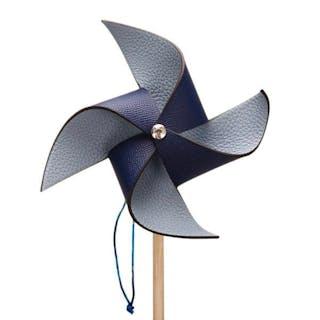 Hermès Bleu Sapphire and Bleu Lin Petit H Pinwheel (Windmill) of Epsom