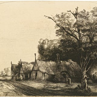 REMBRANDT HARMENSZ. VAN RIJN | LANDSCAPE WITH THREE GABLED COTTAGES