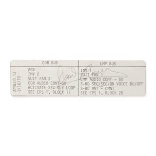 "[APOLLO 13]. FLOWN ON APOLLO 13. ""CDR BUS/LMP BUS"" CUE CARD FROM THE"