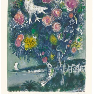 AFTER MARC CHAGALL | LA BAIE DES ANGES AU BOUQUET DE ROSES (M. CS. 30)