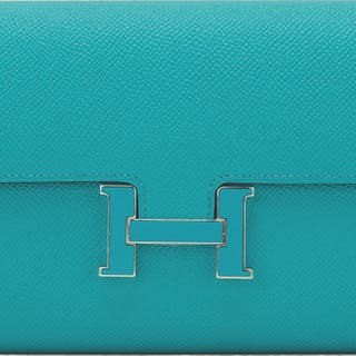 Hermès Bleu Paon Constance Long Wallet of Epsom Leather with Palladium Hardware