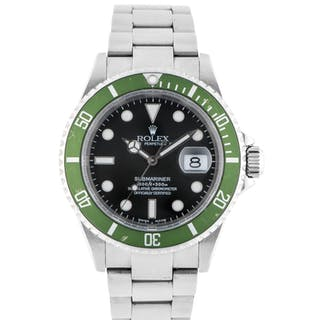 ROLEX | 'KERMIT FLAT 4' SUBMARINER, REF 16610LV STAINLESS STEEL WRISTWATCH