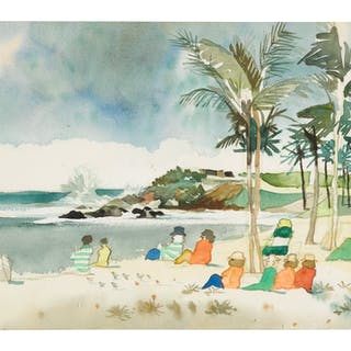 DONG KINGMAN   UNTITLED (FIGURES ON A BEACH)
