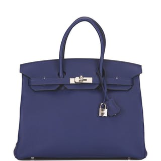 Hermès Bleu Encre Birkin 35cm of Togo Leather with Palladium Hardware