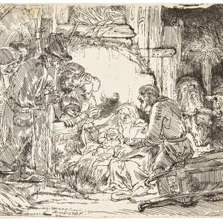 REMBRANDT HARMENSZ. VAN RIJN   THE ADORATION OF THE SHEPHERDS: WITH