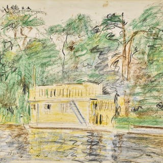 GEORGE LESLIE HUNTER | HOUSEBOAT, LOCH LOMOND