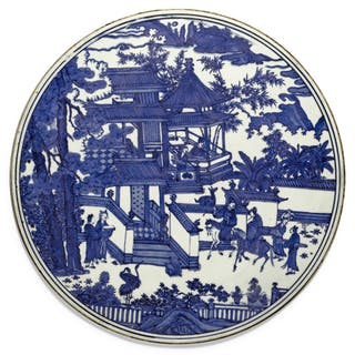 A RARE LARGE BLUE AND WHITE CIRCULAR PLAQUE MING DYNASTY, WANLI PERIOD