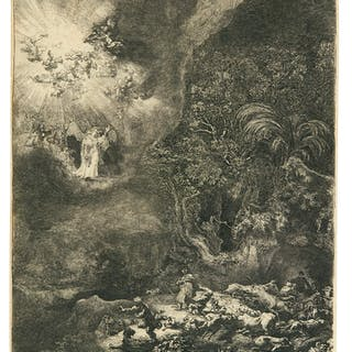 REMBRANDT HARMENSZ. VAN RIJN   THE ANGEL APPEARING TO THE SHEPHERDS
