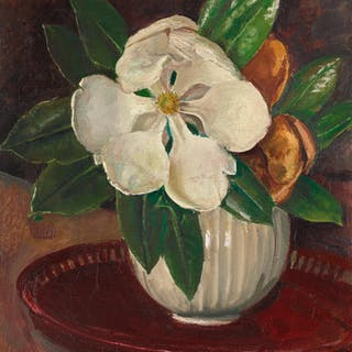 AUGUSTUS JOHN, R.A. | MAGNOLIA WITH LEAVES IN A BOWL