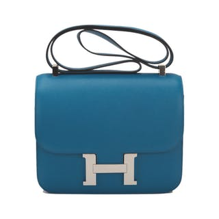 Hermès Bleu Izmir Constance 24cm of Epsom Leather with Palladium Hardware