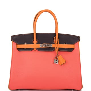 Hermès Horseshoe Stamped (HSS) Tri-Color Orange H, Rose Jaipur and