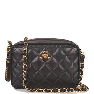Chanel Black Camera Bag of Quilted Lambskin Leather with Gold Tone Hardware