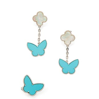 PAIR OF MOTHER-OF-PEARL AND TURQUOISE 'LUCKY ALHAMBRA' EARCLIPS AND