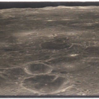 [APOLLO 17]. LUNAR PANORAMA VINTAGE SILVER GELATIN PRINT, SIGNED BY