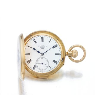 DENT | A YELLOW GOLD HALF HUNTING CASED QUARTER REPEATING WATCH CIRCA 1900