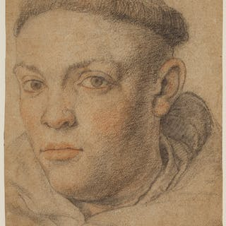 FRENCH SCHOOL, 17TH CENTURY   Head of a monk