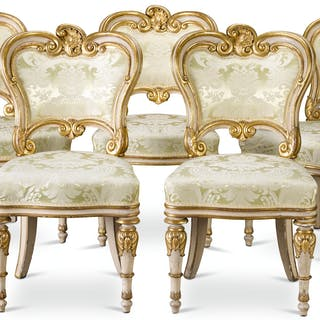 A SET OF FIVE WILLIAM IV WHITE PAINTED PARCEL-GILT SIDE CHAIRS, CIRCA
