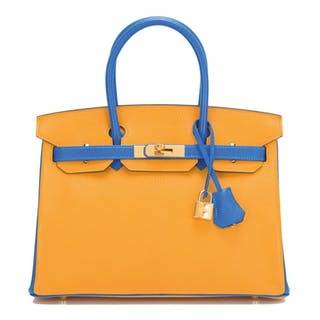 Hermès Horseshoe Stamp (HSS) Birkin 30cm of Jaune D'Or and Bleu Hydra