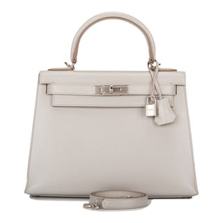 Hermès Gris Perle Sellier Kelly 28cm of Tadelakt Leather with Palladium